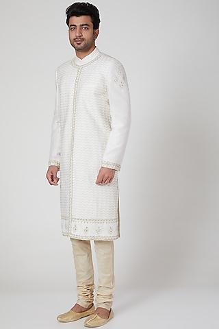 Off White Embroidered Sherwani by Jenjum Gadi