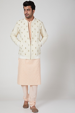Cream Embroidered Bomber Jacket by Jenjum Gadi