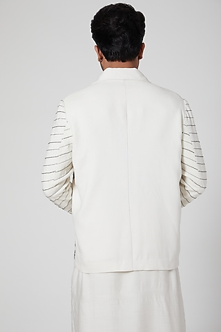Off White Floral Embroidered Biker Jacket by Jenjum Gadi
