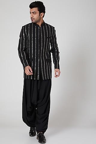 Black Embroidered Bandhgala Jacket With Pants by Jenjum Gadi