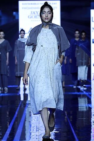 White Printed Dress With Grey Scarf by Jayati Goenka