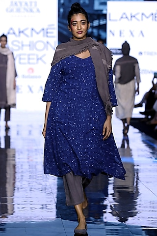 Blue Printed Dress With Grey Pants & Painted Scarf by Jayati Goenka