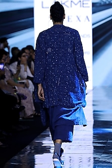 Indigo Blue Printed Robe With Tunic & Pants by Jayati Goenka