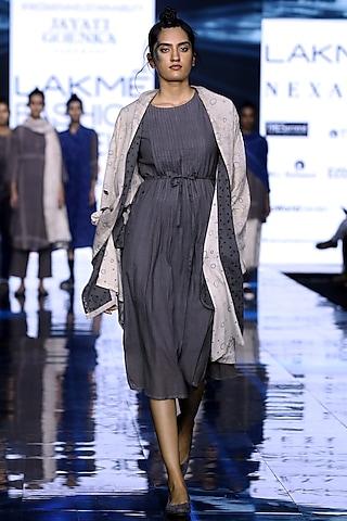 Off White Printed Robe With Grey Pleated Dress by Jayati Goenka