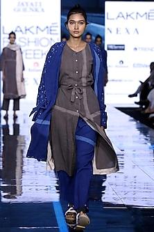 Grey Hand Painted Tunic With Indigo Blue Printed Trench Coat & Pants by Jayati Goenka