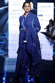 Indigo Blue Painted Dress With Tunic & Printed Pants by Jayati Goenka