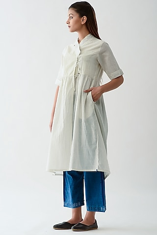 White Handwoven Striped Tunic by Jayati Goenka