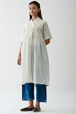 White Handwoven Tunic With Stripes by Jayati Goenka