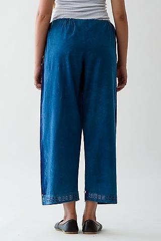 Indigo Blue Hand Embroidered Pants by Jayati Goenka