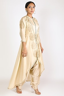 Ivory Embroidered Jumpsuit With Jacket by Jajobaa