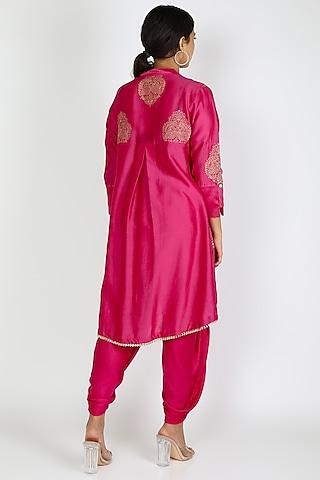 Rani Pink Embroidered Long Top With Dhoti by Jajobaa