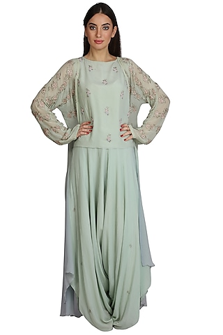 Mint Green Embroidered Dhoti Pant Set With Jacket by Julie By Julie Shah