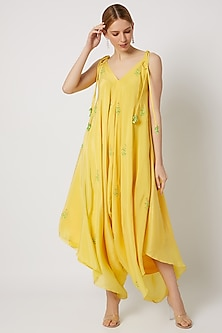 Yellow Embroidered Dhoti Jumpsuit by Julie by Julie Shah