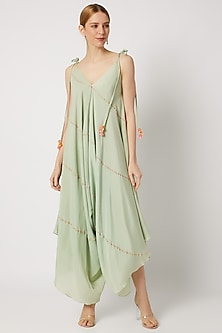 Mint Green Embroidered Dhoti Jumpsuit by Julie by Julie Shah