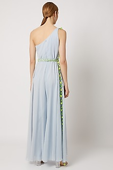Sky Blue Embroidered Jumpsuit With Belt by Julie by Julie Shah