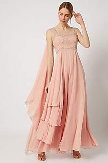 Blush Pink Embroidered Layered Jumpsuit by Julie by Julie Shah