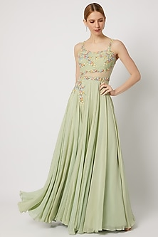 Mint Green Embroidered Gown by Julie by Julie Shah