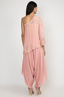 French Rose Pink Embellished Top With Dhoti Pants by Julie by Julie Shah