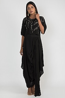 Black Embellished Crop Top With Draped Dhoti Skirt by Julie by Julie Shah
