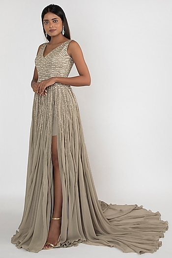 Pale Olive Green Fully Embroidered Gown by Julie by Julie Shah