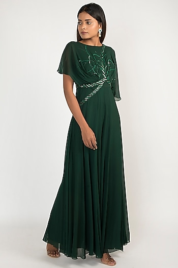 Emerald Embroidered Sharara Style Jumpsuit by Julie by Julie Shah