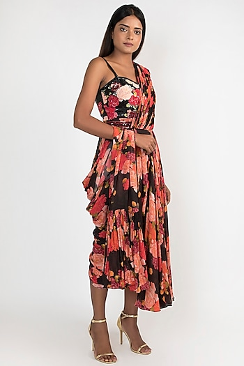 Black Printed & Embroidered Pre-Draped Saree Dress by Julie by Julie Shah