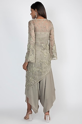 Pale Olive Green Embroidered Kurta With Dhoti Pants by Julie by Julie Shah
