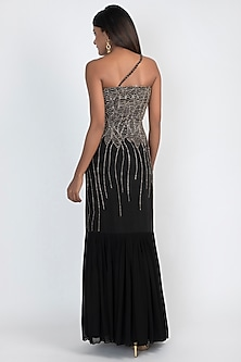 Black Sequins Embroidered Gown by Julie by Julie Shah