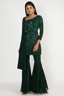 Emerald Green Embroidered Kurta With Sharara Pants by Julie by Julie Shah