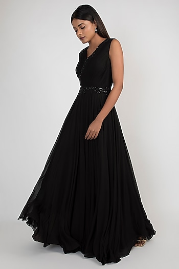 Black Pleated & Embroidered Gown by Julie by Julie Shah