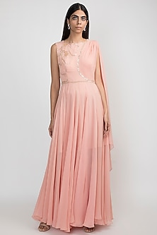 French Rose Pink Embroidered Gown by Julie by Julie Shah