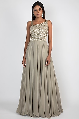 Pale Olive Green Embroidered Gown by Julie by Julie Shah