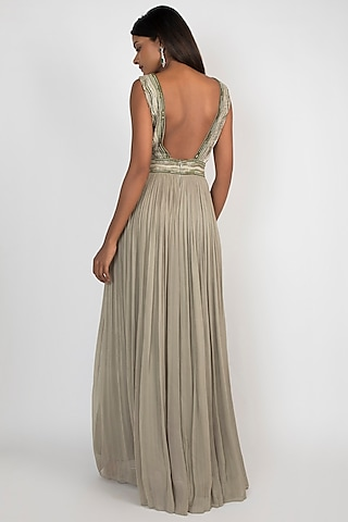 Pale Olive Green Embroidered Jumpsuit by Julie by Julie Shah