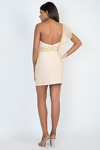 White Corset Style Embroidered Mini Dress by Julie by Julie Shah