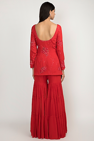 Cardinal Red Embroidered Sharara Set by Julie by Julie Shah