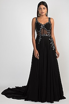 Black Embroidered Corset Gown by Julie by Julie Shah