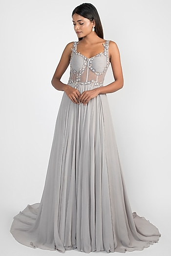 Baroque Grey Embroidered Corset Gown by Julie by Julie Shah