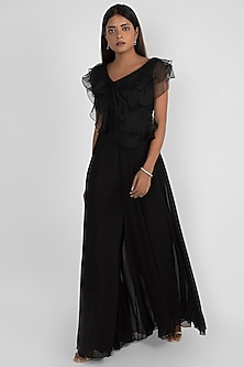 Black Embroidered Ruffled Jumpsuit by Julie by Julie Shah
