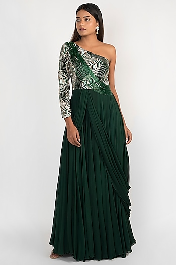 Emerald Green Embroidered One Shoulder Gown by Julie by Julie Shah