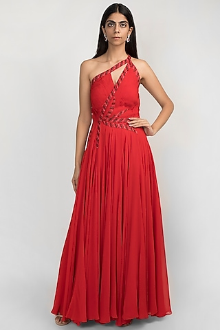 Cardinal Red Embroidered One Shoulder Gown by Julie by Julie Shah