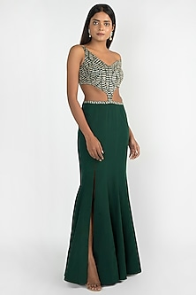 Emerald Green Embroidered Corset Gown by Julie by Julie Shah