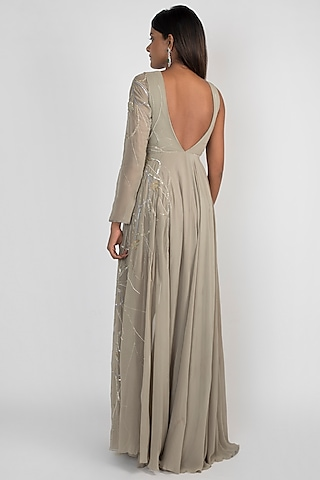 Pale Olive Green Embroidered High-Low Gown by Julie by Julie Shah