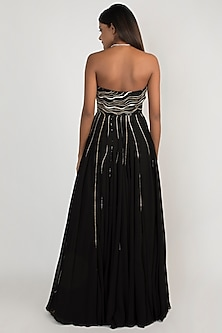 Black Embroidered Strapless Gown by Julie by Julie Shah