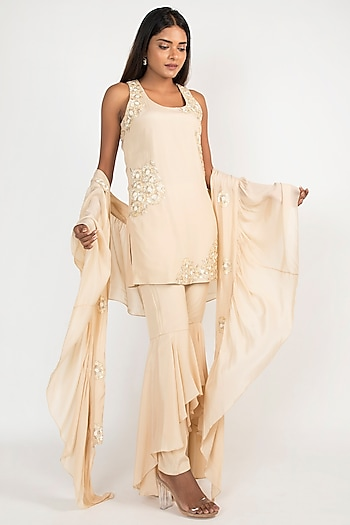 Dewdrop Gold Embroidered Sharara Set by Julie by Julie Shah