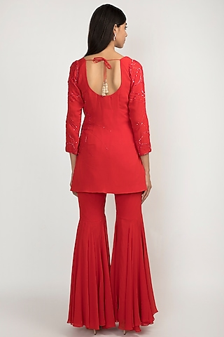 Cardinal Red Sequins Embroidered Sharara Set by Julie by Julie Shah