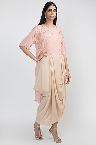 French Rose Pink Embroidered Crop Top With Dhoti Pants by Julie by Julie Shah