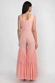 French Rose Pink Embroidered Peplum Jumpsuit by Julie by Julie Shah