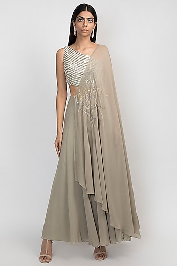 Pale Olive Green Embroidered Kaftan Jumpsuit by Julie by Julie Shah