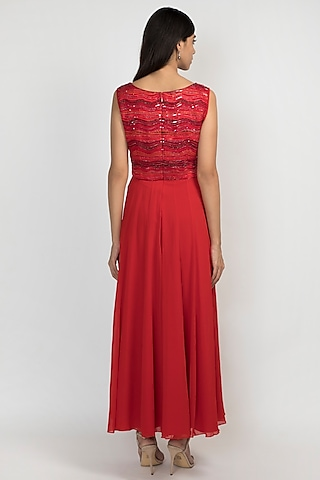 Cardinal Red Embroidered Gown by Julie by Julie Shah