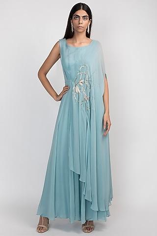 Grecian Blue Embroidered Kaftan Jumpsuit by Julie by Julie Shah